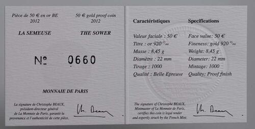 Zertifikat:Frankreich : 50 Euro 10 Jahre Euro Bargeld  2012 PP