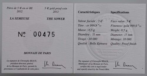 Zertifikat:Frankreich : 5 Euro 10 Jahre Euro Bargeld  2012 PP