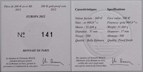 Zertifikat:Frankreich : 200 Euro 20 Jahre Eurokorps  2012 PP