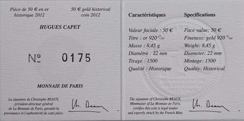 Zertifikat:Frankreich : 50 Euro Hugues Capet  2012 PP