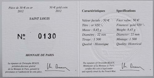 Zertifikat:Frankreich : 50 Euro Saint Louis IX  2012 Stgl.