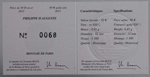 Zertifikat:Frankreich : 50 Euro Philipp II. August  2012 Stgl.