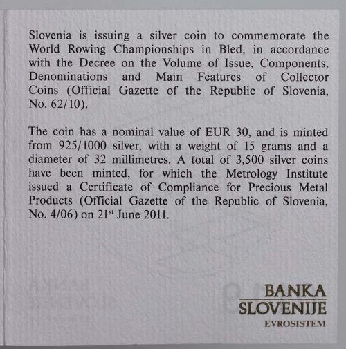 Zertifikat:Slowenien : 30 Euro Ruder Weltmeisterschaft in Bled  2011 PP