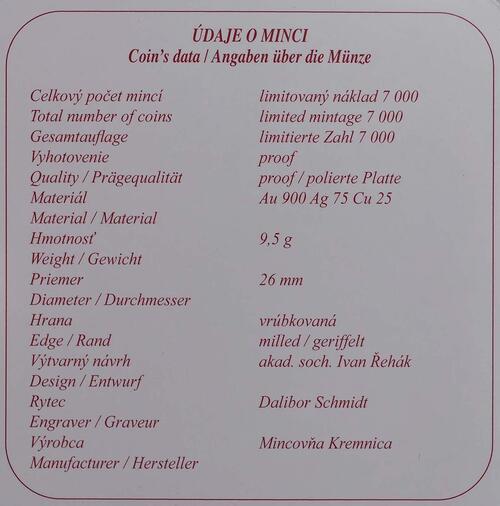 Zertifikat:Slowakei : 100 Euro Fürst Pribina von Nitra  2011 PP