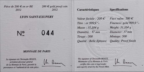 Zertifikat:Frankreich : 200 Euro Lyon St. Exupery  2012 PP