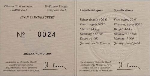 Zertifikat:Frankreich : 20 Euro Lyon St. Exupery  2012 PP
