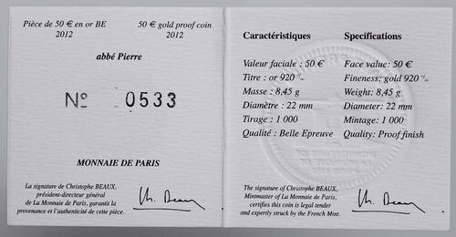Zertifikat:Frankreich : 50 Euro Abbé Pierre  2012 PP