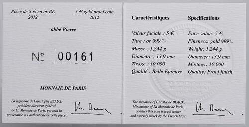 Zertifikat:Frankreich : 5 Euro Abbé Pierre  2012 PP