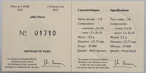 Zertifikat :Frankreich : 2 Euro Abbé Pierre  2012 PP