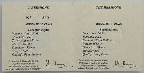 Zertifikat:Frankreich : 50 Euro Hermione  2012 PP