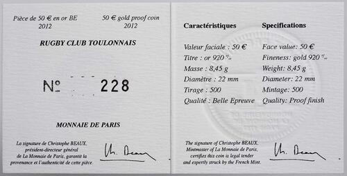 Zertifikat:Frankreich : 50 Euro Toulon Rugby  2012 PP