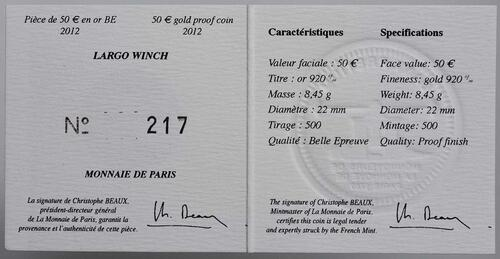 Zertifikat:Frankreich : 50 Euro Largo Winch  2012 PP