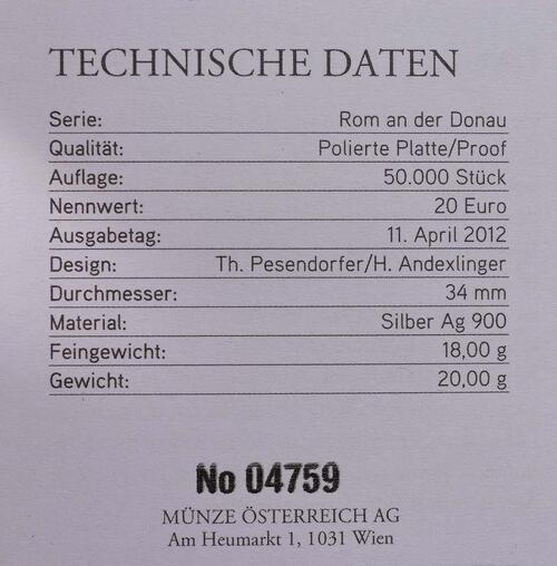 Zertifikat:Österreich : 20 Euro Lauriacum  2012 PP