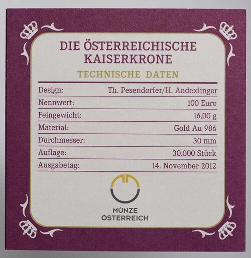 Zertifikat:Österreich : 100 Euro Die Österreichische Kaiserkrone  2012 PP