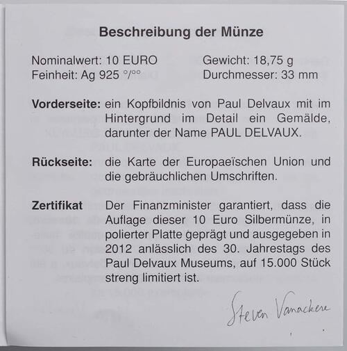 Zertifikat:Belgien : 10 Euro Paul Delvaux  2012 PP