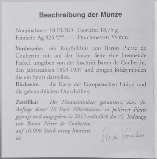 Zertifikat:Belgien : 10 Euro De Coubertin  2012 PP