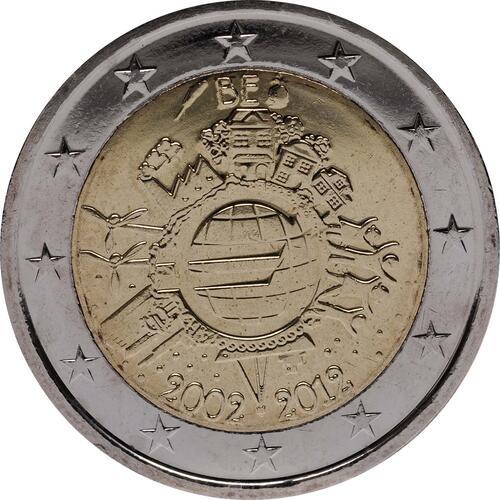 Rückseite:Belgien : 2 Euro 10 Jahre Euro Bargeld  2012 bfr