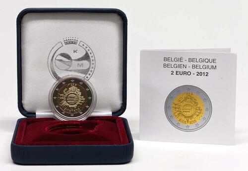 Lieferumfang :Belgien : 2 Euro 10 Jahre Euro Bargeld  2012 PP