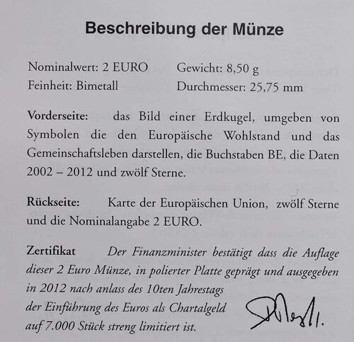 Zertifikat :Belgien : 2 Euro 10 Jahre Euro Bargeld  2012 PP