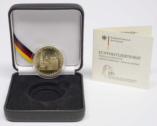Lieferumfang :Deutschland : 100 Euro Aachener Dom Komplettset A,D,F,G,J 5 Münzen  2012 Stgl.