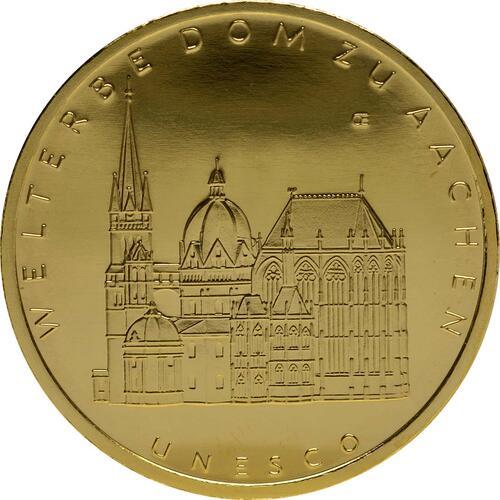 Vorderseite:Deutschland : 100 Euro Aachener Dom Komplettset A,D,F,G,J 5 Münzen  2012 Stgl.
