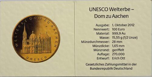 Zertifikat :Deutschland : 100 Euro Aachener Dom Komplettset A,D,F,G,J 5 Münzen  2012 Stgl.