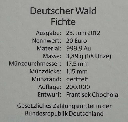 Zertifikat :Deutschland : 20 Euro Fichte Komplettsatz 5 Münzen ADFGJ  2012 Stgl.