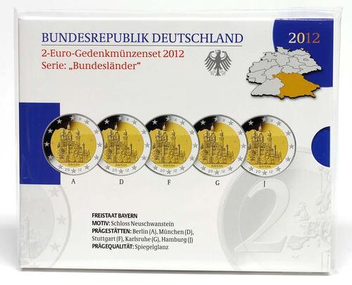 Lieferumfang:Deutschland : 2 Euro Bayern - Schloss Neuschwanstein Komplettsatz 5x2 Euro  2012 PP