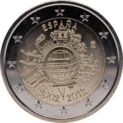 Rückseite:Spanien : 2 Euro 10 Jahre Euro Bargeld  2012 bfr
