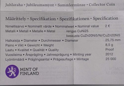 Zertifikat:Finnland : 2 Euro 10 Jahre Euro Bargeld  2012 PP