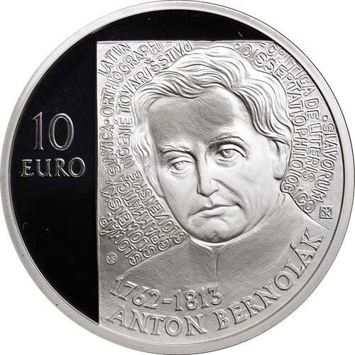 Vorderseite:Slowakei : 10 Euro Anton Bernolak - 250. Geburtstag  2012 PP