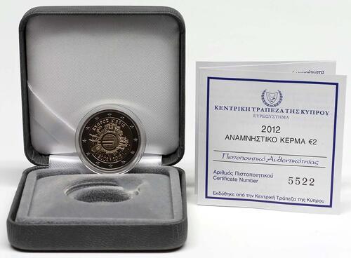 Lieferumfang :Zypern : 2 Euro 10 Jahre Euro Bargeld  2012 PP