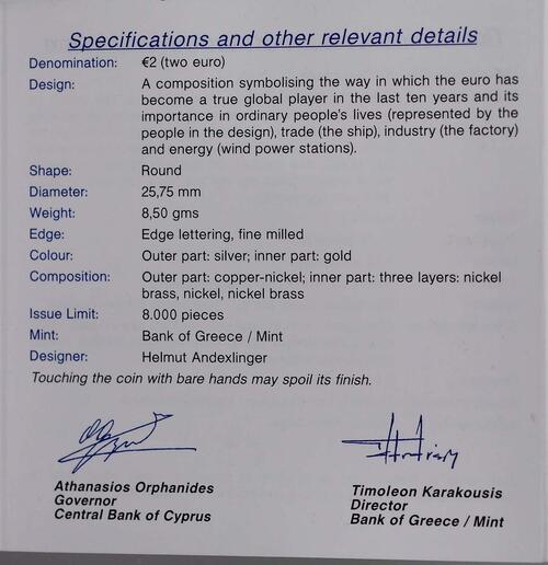 Zertifikat:Zypern : 2 Euro 10 Jahre Euro Bargeld  2012 PP