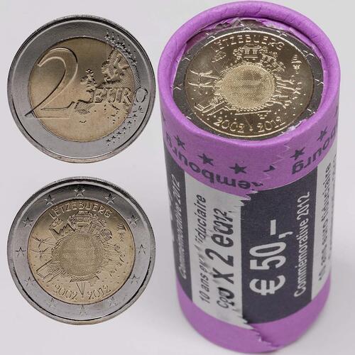 Lieferumfang :Luxemburg : 2 Euro 25x 2 Euro 10 Jahre Euro Bargeld in Originalrolle  2012 Stgl.