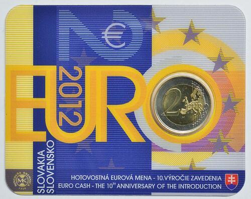 Lieferumfang :Slowakei : 2 Euro 10 Jahre Euro Bargeld  2012 Stgl.