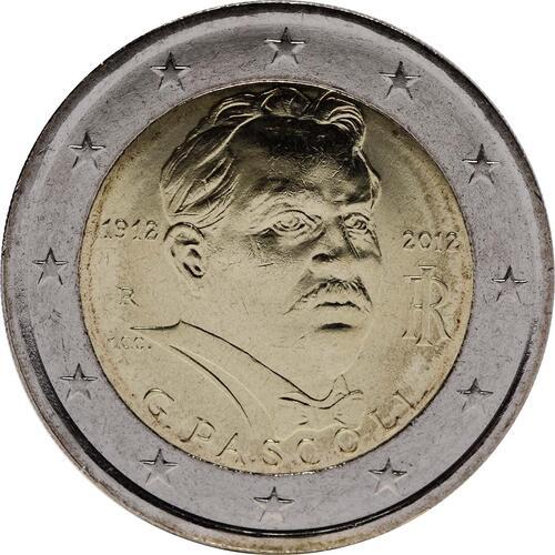Rückseite:Italien : 2 Euro 100. Todestag Giovanni Pascoli  2012 bfr