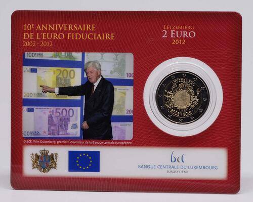 Lieferumfang :Luxemburg : 2 Euro 10 Jahre Euro Bargeld  2012 Stgl.
