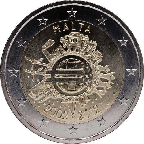 Rückseite :Malta : 2 Euro 10 Jahre Euro Bargeld  2012 bfr