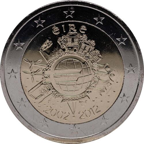 Rückseite :Irland : 2 Euro 10 Jahre Euro Bargeld  2012 bfr