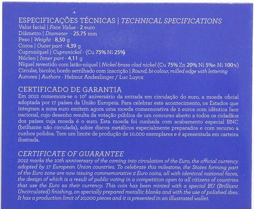 Zertifikat :Portugal : 2 Euro 10 Jahre Euro Bargeld  2012 Stgl.