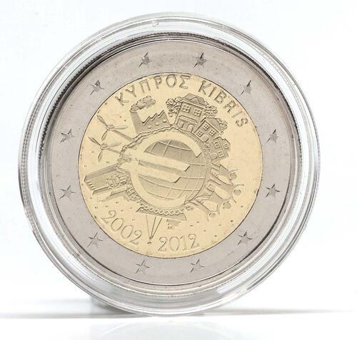 Lieferumfang :Zypern : 2 Euro 10 Jahre Euro  2012 Stgl.