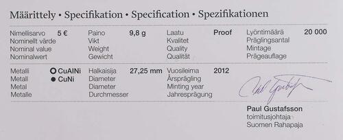 Zertifikat:Finnland : 5 Euro Eishockey WM IIHF  2012 PP