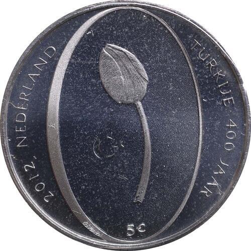 Rückseite:Niederlande : 5 Euro Tulpe  2012 Stgl.