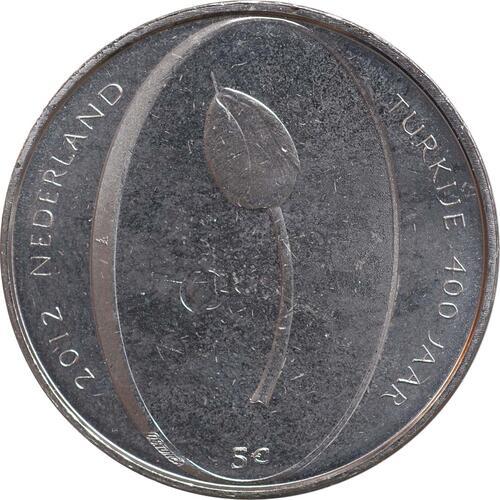 Rückseite:Niederlande : 5 Euro Tulpe  2012 vz/Stgl.