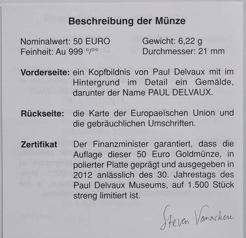 Zertifikat:Belgien : 50 Euro Paul Delvaux  2012 PP