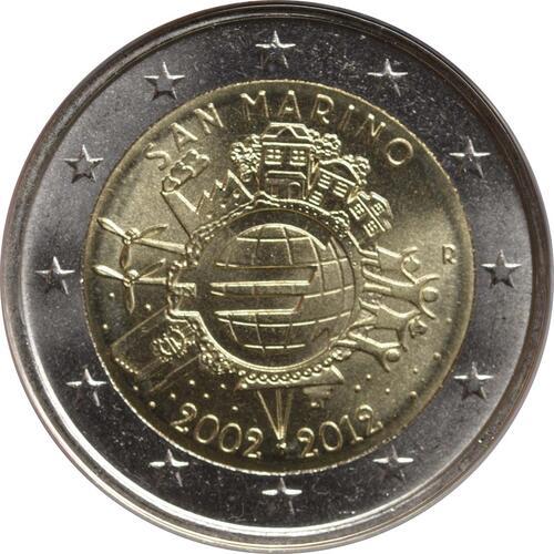 Rückseite:San Marino : 2 Euro 10 Jahre Euro Bargeld  2012 Stgl.