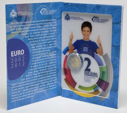 Lieferumfang :San Marino : 2 Euro 10 Jahre Euro Bargeld  2012 Stgl.
