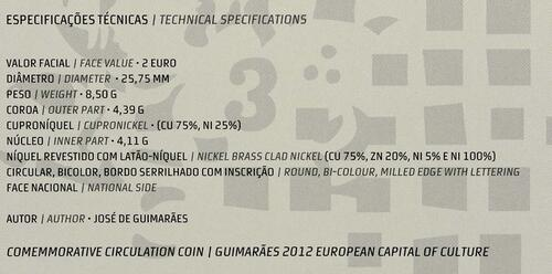 Zertifikat :Portugal : 2 Euro Europäische Kulturhauptstadt Guimaraes  2012 Stgl.