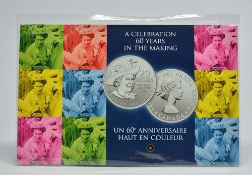 Lieferumfang :Kanada : 20 Dollar 60 J. Krönungsjubiläum  2012 Stgl.