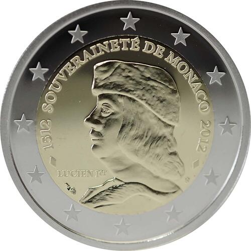 Rückseite :Monaco : 2 Euro 500 Jahre Souveränität Monacos  2012 PP